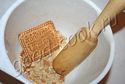 творожный полосатый десерт с печеньем
