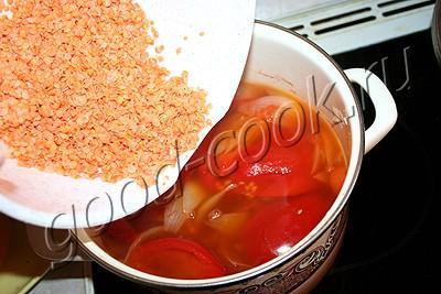 чечевичный суп-пюре с овощами