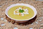 сырный суп-пюре с брокколи и копченой курицей