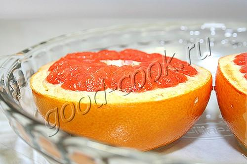 грейпфрут, запеченный под безе