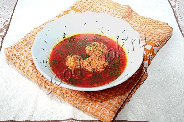 свекольный суп с фрикадельками