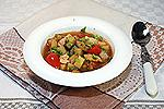 баклажановый суп с жареной курицей