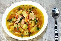 гороховый суп с копчёной курицей
