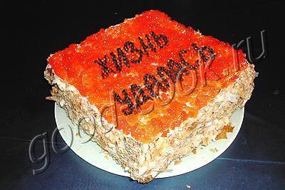 закусочный торт с копченым лососем