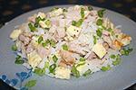 рисовый салат с ветчиной и омлетом