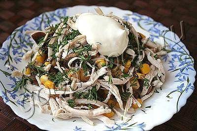"""салат """"Птичка"""" с грибами"""