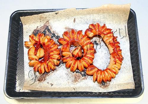 сосиски запеченные под кисло-сладким соусом