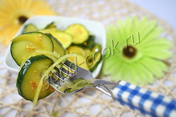 пикантные огурцы с луком и горчицей