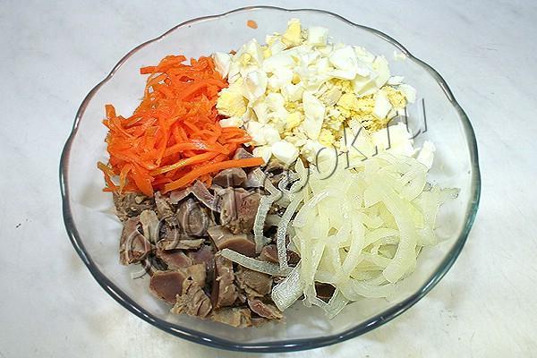 острый салат с корейской морковкой и куриными желудками