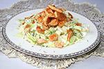 салат из капусты с курицей и сырными блинчиками