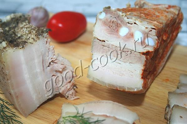 солёная грудинка или сало (с непродолжительной варкой)