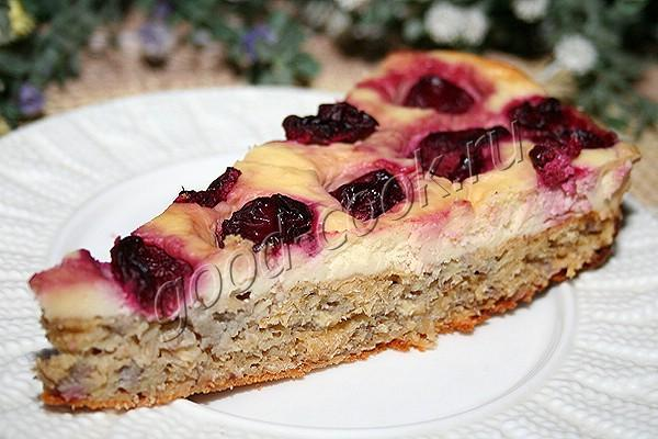 диетический овсяный пирог с бананом и творогом