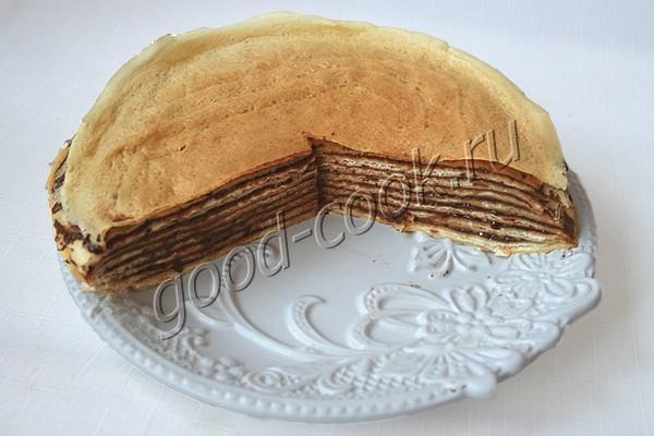 блинный пирог с творогом и Нутеллой