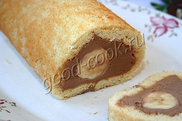 рулет с целым бананом и творожно-шоколадным кремом