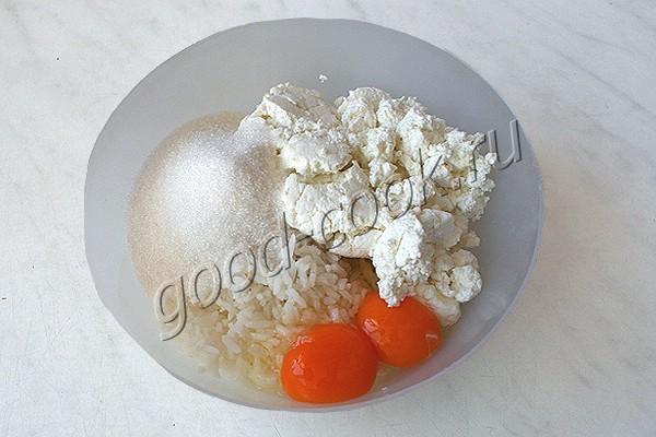 перевёрнутая творожно-рисовая запеканка с яблоками