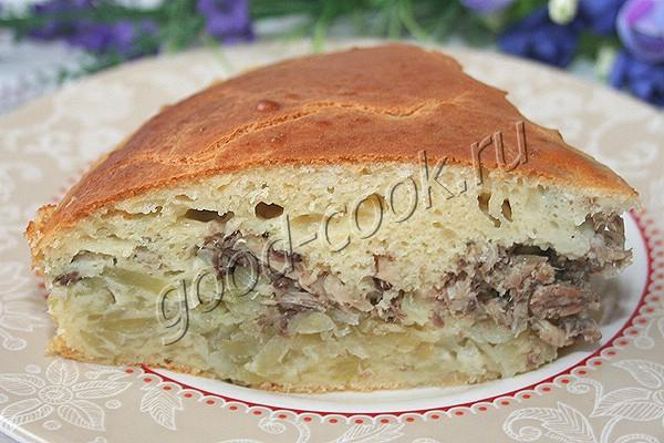 быстрый пирог с картофелем и консервированной рыбой