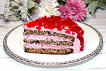 торт с шоколадом и сливочно-малиновым кремом