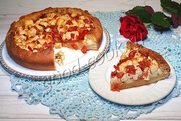 сметанный пирог с помидорами и плавленым сыром