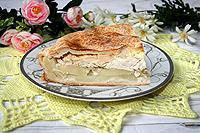 пирог с курицей, картофелем и плавленым сыром