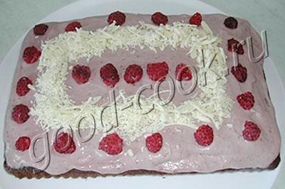 пирог со свежей малиной