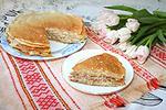 блинный пирог с варёной курицей