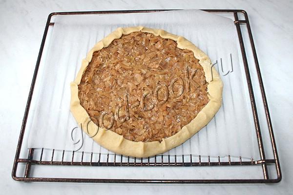 постный открытый пирог с капустой