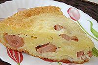 пирог на майонезе с сыром и сосисками