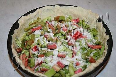 пирог с ревенем и творожной заливкой