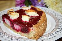 пирог с клюквенным пюре и творогом
