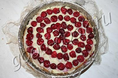вишневый торт с желе и кремом из заварной помадки