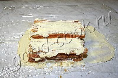 """торт """"Наполеон"""" в виде полена"""