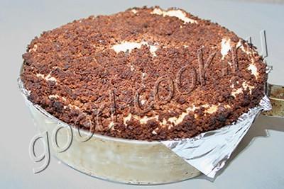 """пирог """"Вишня в снегу"""" с шоколадными пряниками"""