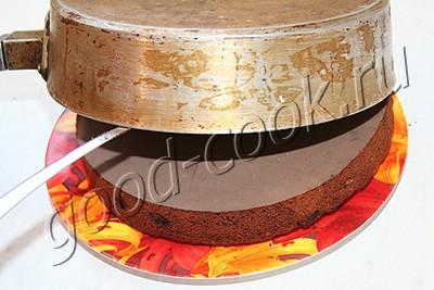 шоколадно-вишнёвый пирог с винным сиропом