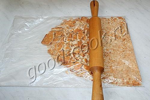 грибной пирог на галетной основе
