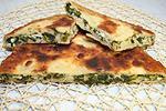 жареный пирог с зеленым луком и яйцами