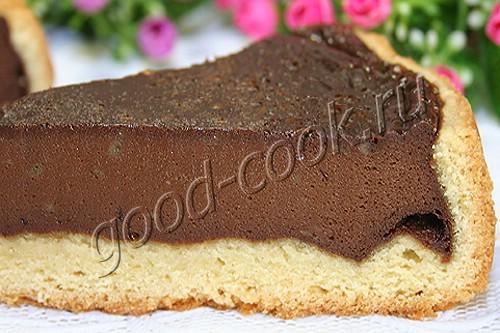 песочный пирог с шоколадной начинкой