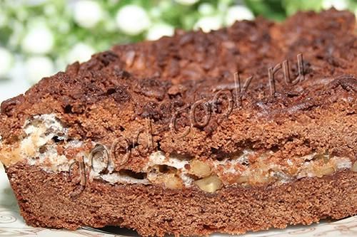 пирог с орехово-белковой серединкой