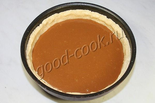 песочный пирог с ирисками и шоколадом