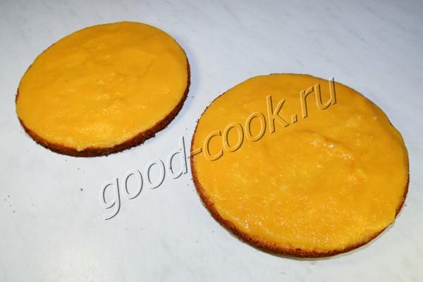 бисквитный торт с консервированными персиками рецепт