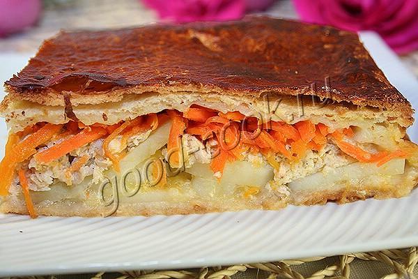 пирог с курицей и с морковкой по-корейски