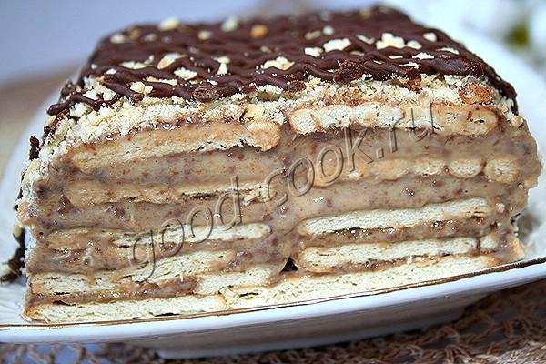галетный торт с бананами и шоколадом