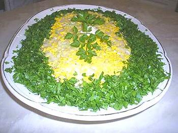 Рецепт салата нежного мимоза