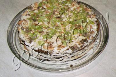 печеночный торт с омлетом