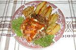 мясо с солеными грибами и сыром