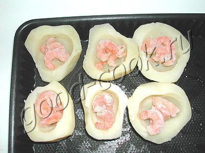 картофельные лодочки с креветками