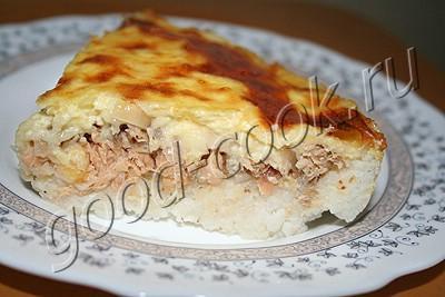 рисовая запеканка с консервированным лососем