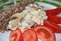 курица с грибами тушеная в сливках