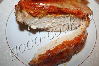 курица фаршированная под кожу курагой