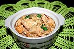 курица тушеная с баклажанами в сырно-сметанном соусе
