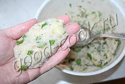 котлеты из рыбы с сырым картофелем